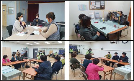 총4장의 사진으로 이루어져있으며 왼쪽부터 시계방향으로 4월8일, 4월 19일, 4월 21일(2장) 이용자역량강화교육이 진행되고 있는 사진
