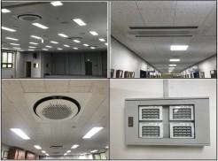 (좌상)4층 강당 (우상)2층 복도 (좌하)2층 통합사무실 (우하)전체 시스템 냉난방기 작동 버튼
