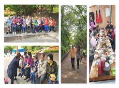 왼쪽 상단 카네이션을 들고 찍은 단체 사진 왼쪼 하단 어르신들께 카네이션을 전달하는 사진 가운데 공원산책하는 사진 우즉 식사하는 사진
