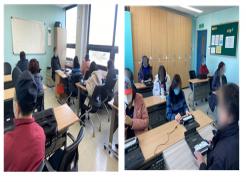 (좌) 21년도 점자교육 계획안을 설명하고 있는 모습  (우) 정보통신보조기기 한소네를 활용하여 교육안을 확인하는 보조강사 참여자 모습