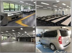 (좌상)식당확장공사 (우상)3층 교육장 (좌하)4층 강당 (우하)기능보강 차량