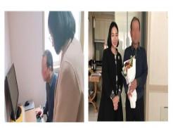 (좌) 취업자 백**님께서 재택근무시스템을 배우는 사진   (우) 채용 기업 브이드림 대표님과 취업자 백**님의 기념사진