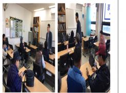 (좌) 정보통신보조기기(책마루ET) 활용 교육 듣고 있는 교육생분들 사진 (우) 수업 중 교육생분들이 서로 도와가며 실기교육을 진행하는 사진