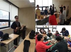 좌측사진 : 우쿨렐레교실 수업  우측상단사진 : 중창교실 수업  우측하단사진 : 향기공예교실 수업